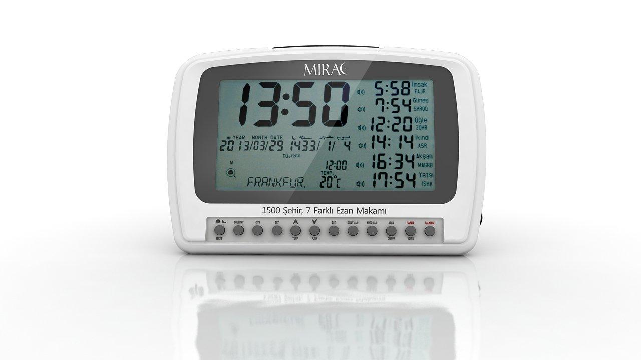 MIRAC Azan Prayer Nimaz Clock, Islamic Table Adhaan Reminder / Gebetsuhr / Otomatik Ezan Saati (White)