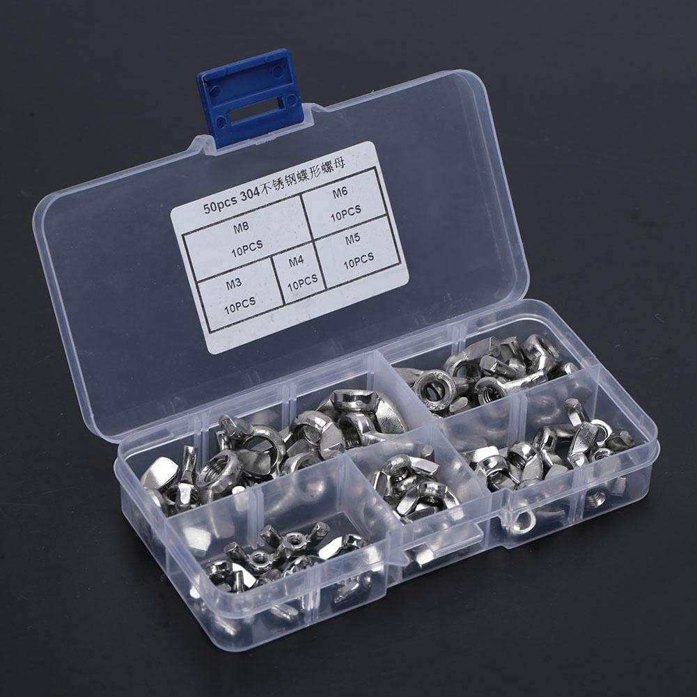 MAGT Wing Nut 50pcs Stainless Steel Butterfly Nut Set Wing Nuts Set 5 Types Wing Nut Assortment with Case