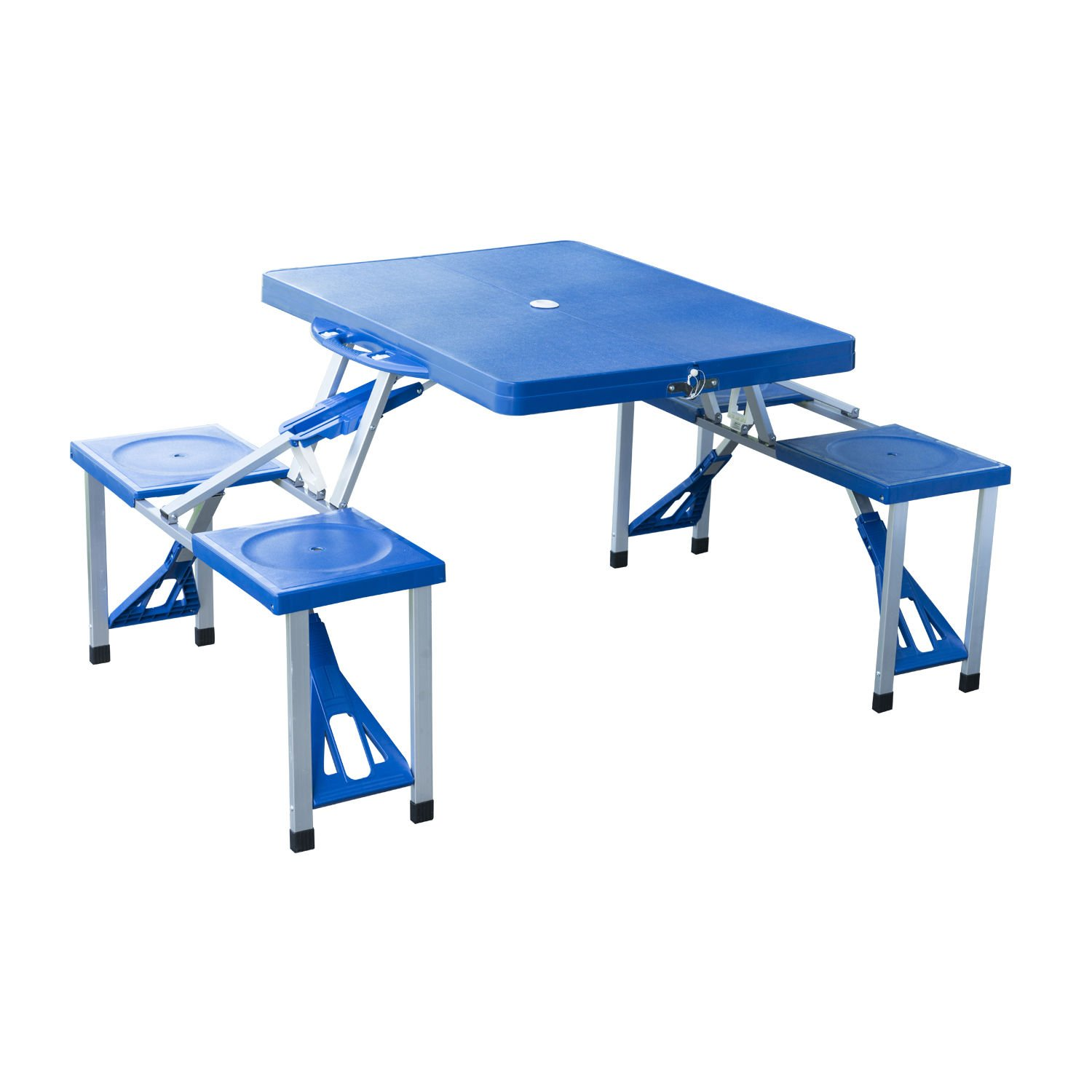 Outsunny Portable Lightweight Folding Suitcase Picnic Table w/4 Built-In Chairs, Blue by Outsunny