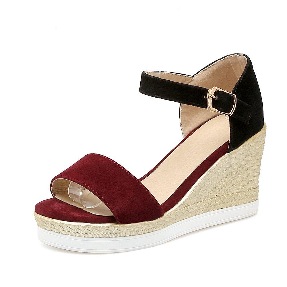Mei&s Frauen Keilabsatz Peep Toe Sandalen