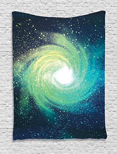 Ambesonne Home Decor Collection, Outer Space Themed Image Spiral Galaxy Stardust with Light Astromony Cosmos Milkway Stars, Bedroom Living Room Dorm Wall Hanging Tapestry, Navy Teal