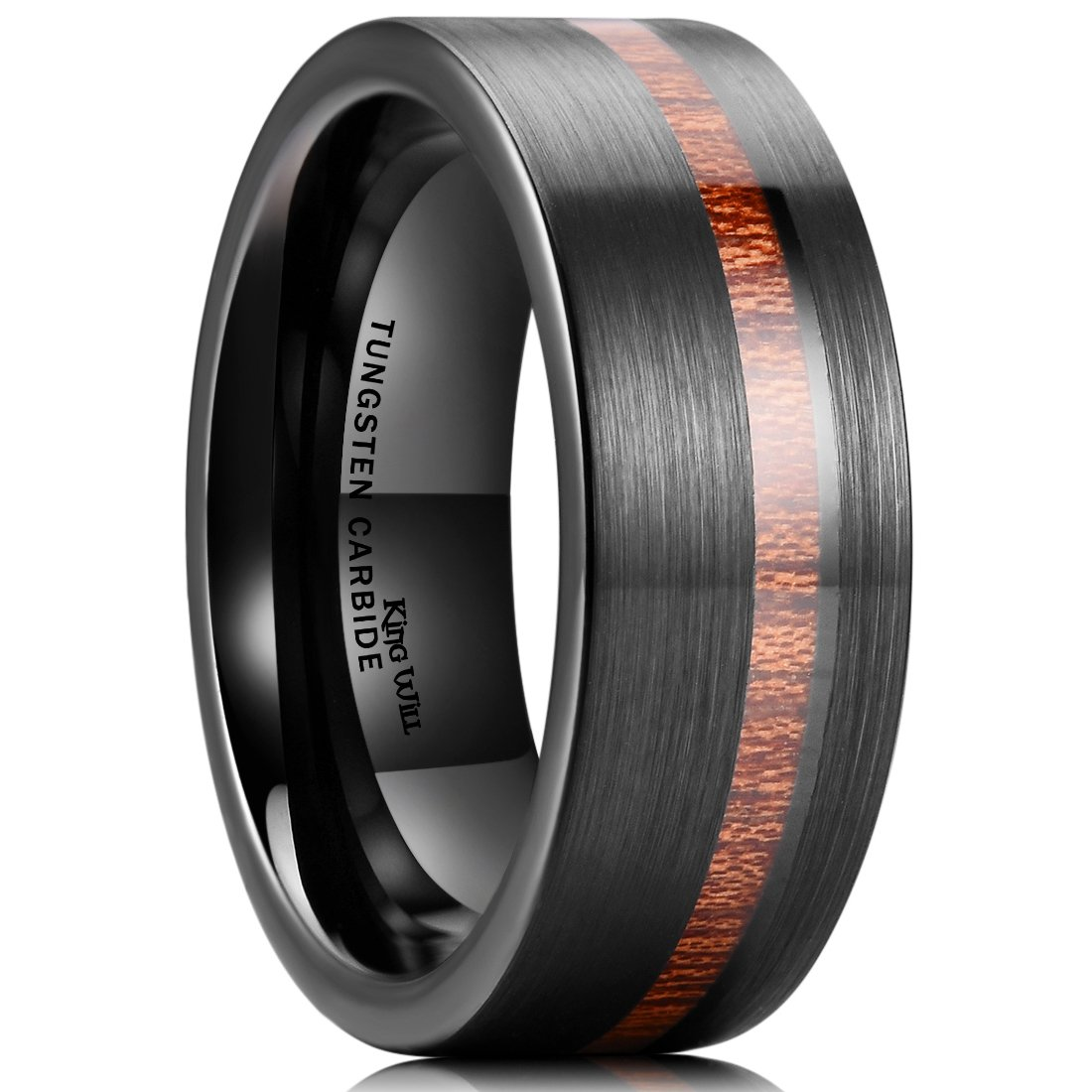 King Will Nature 8mm Wood Inlay Polish Unisex Black Tungsten Carbide Wedding Band Engagement Ring 10.5