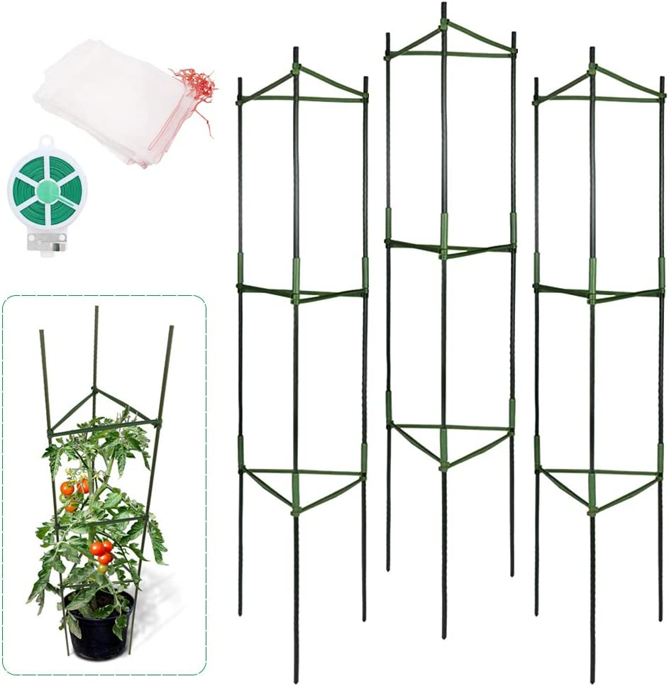 MAY.T Tomato Cage, Plant Support Stakes Vegetable Trellis with 12 Garden Netting Bags and 54YD Twist Tie for Climbing Plants,Vegetables, Flowers, Fruits