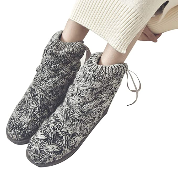 4025713ef8c Women s Bow Wool Knitted High Tube Snow Boots Soft Warm Boots Winter Cozy  Slip