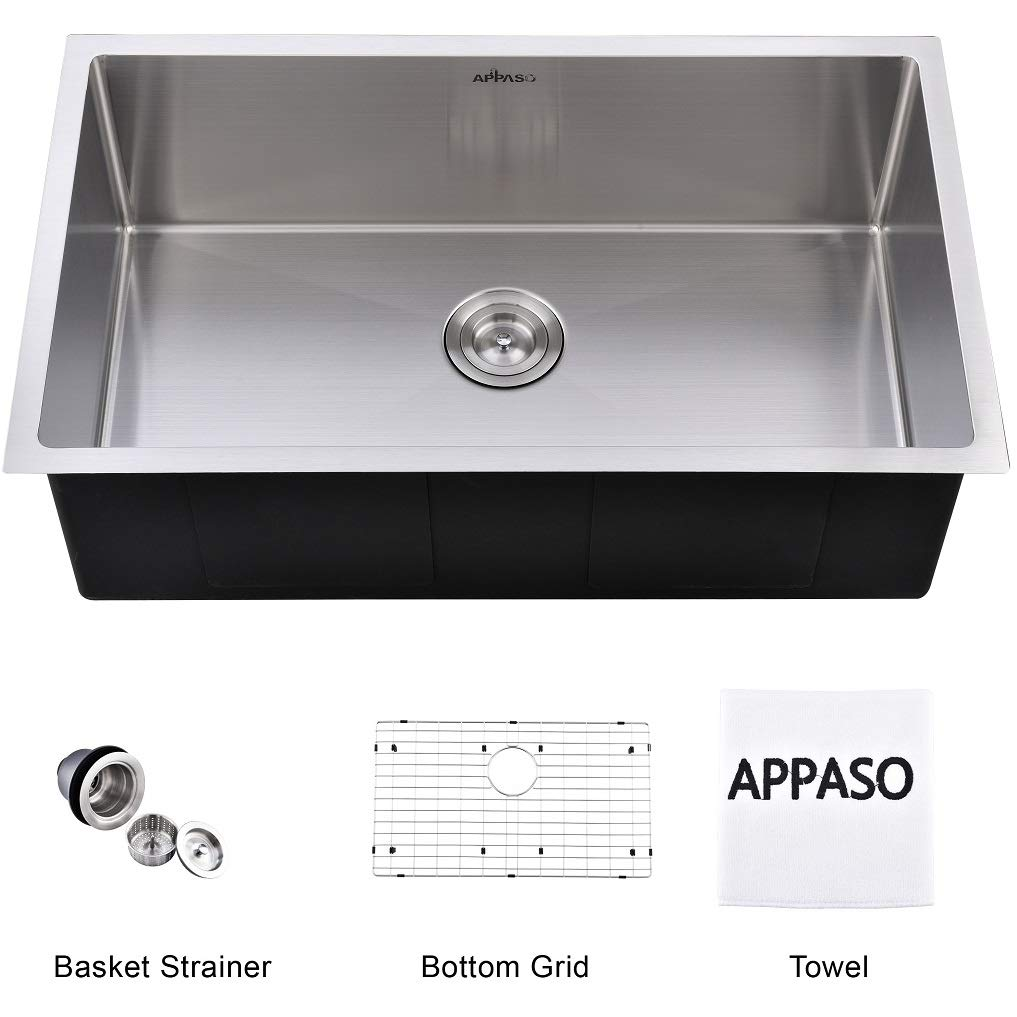 APPASO 32-Inch Single Bowl Handmade Kitchen Sink Undermount, 18 Gauge Commercial Stainless Steel 10 inch Deep Large Drop-in Kitchen Sink, R321910