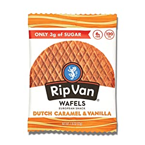 Rip Van Wafels Dutch Caramel & Vanilla Stroopwafels - Healthy Snacks - Non GMO Snack - Keto Friendly - Office Snacks - Low Sugar (3g) - Low Calorie Snack - 12 Count (Packaging May Vary)