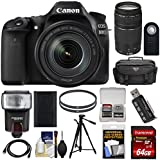 Canon EOS 80D Wi-Fi Digital SLR Camera & EF-S 18-135mm IS USM with 75-300mm III Lens + 64GB Card + Battery + Case + Filters + Tripod + Flash Kit