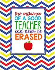 Teacher Thank You - Influence Of A Good Teacher: Teacher Notebook - Journal or Planner for Teacher Gift: Great for Teacher Appreciation/Thank You/Retirement/Year End Gift - Yellow Red Blue Yellow Squiggles