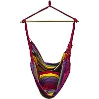 Sorbus HMK-PRTB-RNBW Large Brazilian Hammock Chair-Cotton Weave-Extra Long Bed-(Hot Colors)