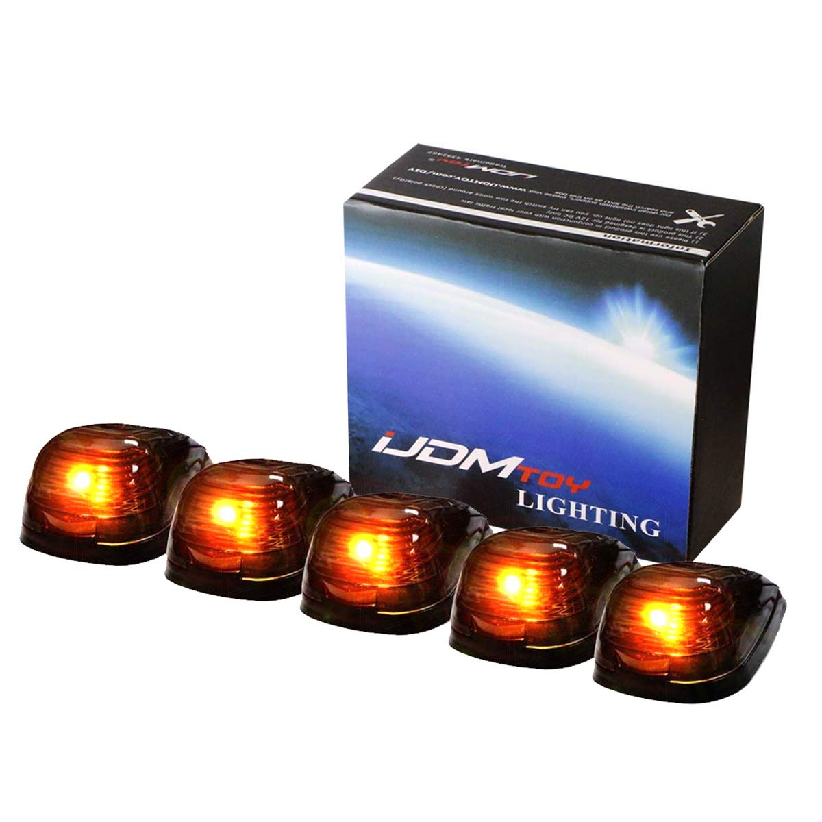 iJDMTOY 5pcs Black Smoked Cab Roof Top Marker Running Lamps w/ 5-SMD-5050 Amber LED Lights For Truck 4x4 SUV iJDMTOY Auto Accessories Super Bright LED Cab Marker Lighting Kit