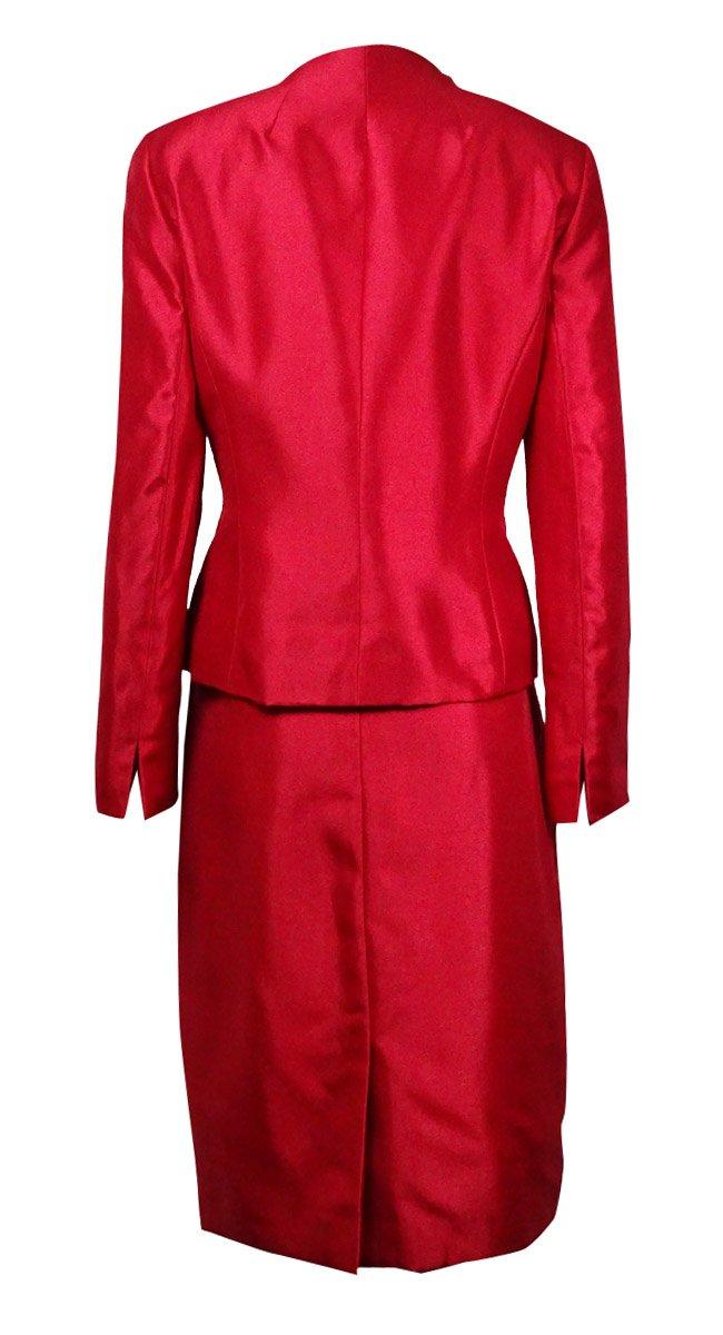 Le Suit Women's Prague 3-Button Dupioni Skirt Suit (10P, Crimson) by Le Suit (Image #3)