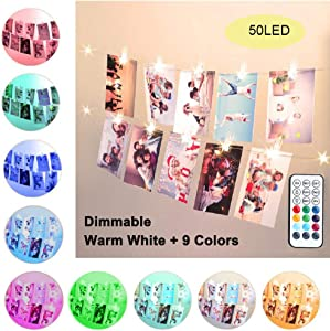 LED Photo Clip Color Changing Lights,16.4ft 50 LED 10 Colors Starry String Lights Battery & USB Powered with Remote for Polaroid Photo, Wedding & Bridal Shower Decor, Gifts for Teen Girls Bedroom Dorm
