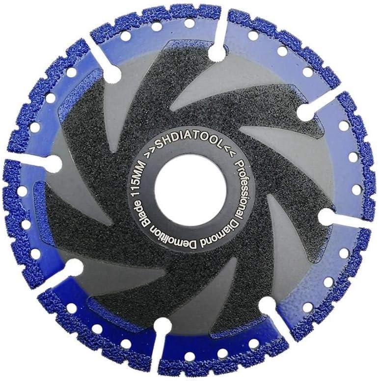 ZhuJinSheng Pieza de corte1 Pieza Hoja de Diamante soldada al vacío Disco de Corte multipropósito Hierro Fundido Barra de Refuerzo Aluminio Acero Plástico PVC Hoja de Sierra de Piedra, 180 mm