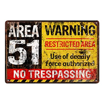 Doitsa 20x30cm Señal de Advertencia Area 51, Cartel de Chapa Placa Metal, Tin Sign Pared Señal Placa Decoración