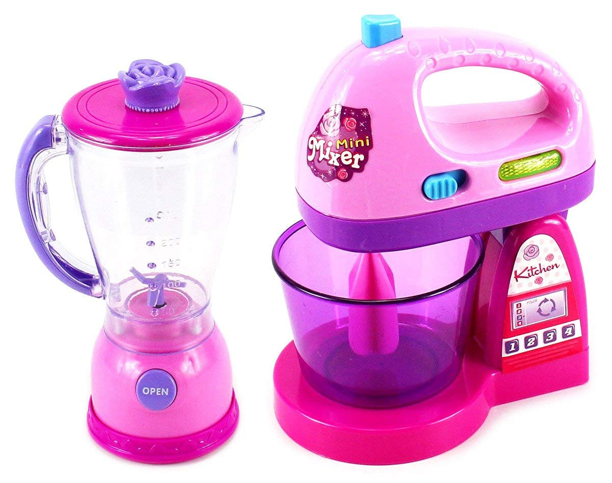 WG Toys Happy Kitchen Blender and Mixer Kitchen Appliances Toy Set for Kids with Light Up Swirling Colors