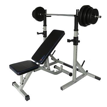 Uni Best oblicuo Banco Banco de pesas y soporte para halteras Soporte para mancuernas, con pesas 60 kg: Amazon.es: Deportes y aire libre