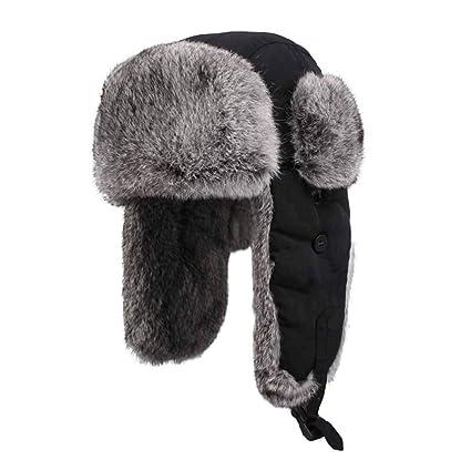 bf880c17d Amazon.com: Jenify Winter Trapper Hat for Men Black, Weatherproof ...