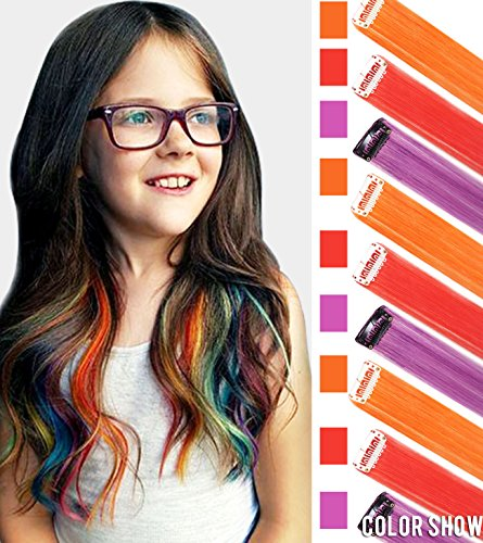 Easy Red Hair Costumes (CCW Doll Wig Piece in Purple/Red/Orange Clip In/On Hair Extensions for American Girls and Dolls 18 inch 9 PCS One Set(Purple&Red&Orange))