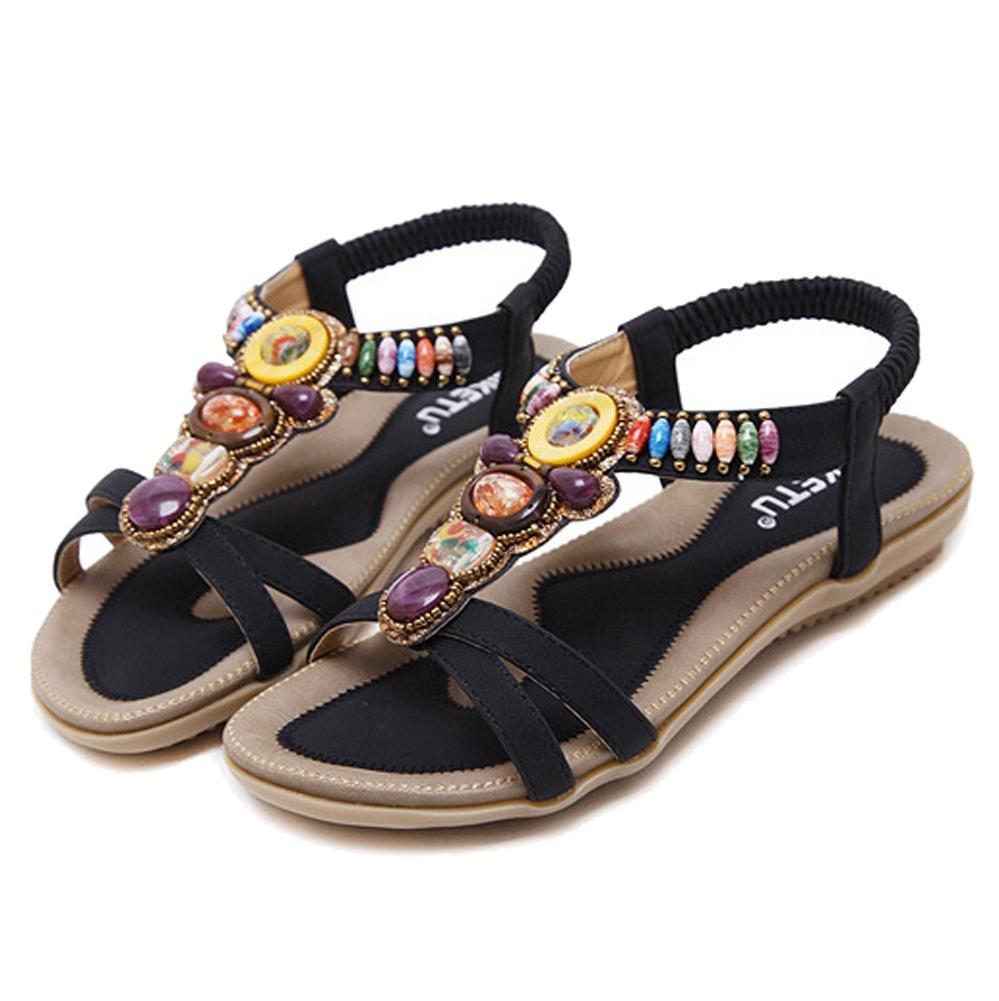 Sandales 19871 Pour Femmes Perlé B077R4YYRY Sangle De Cheville Plage Boho Tongs Plage Chaussures Plates. 35-42 black 55ceeee - automaticcouplings.space