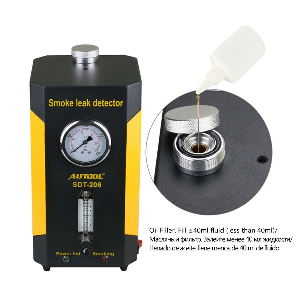 Autool Fuga de Tubería Detector Coche, EVAP Maquina de Humo 12v Detectores de Fugas de Combustible para automóviles, Probador de Fugas de tubería ...