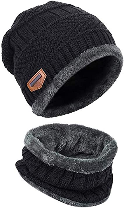 Mens Knitted Beanie Hats and Circle Scarf Set for Winter Outdoor Sports