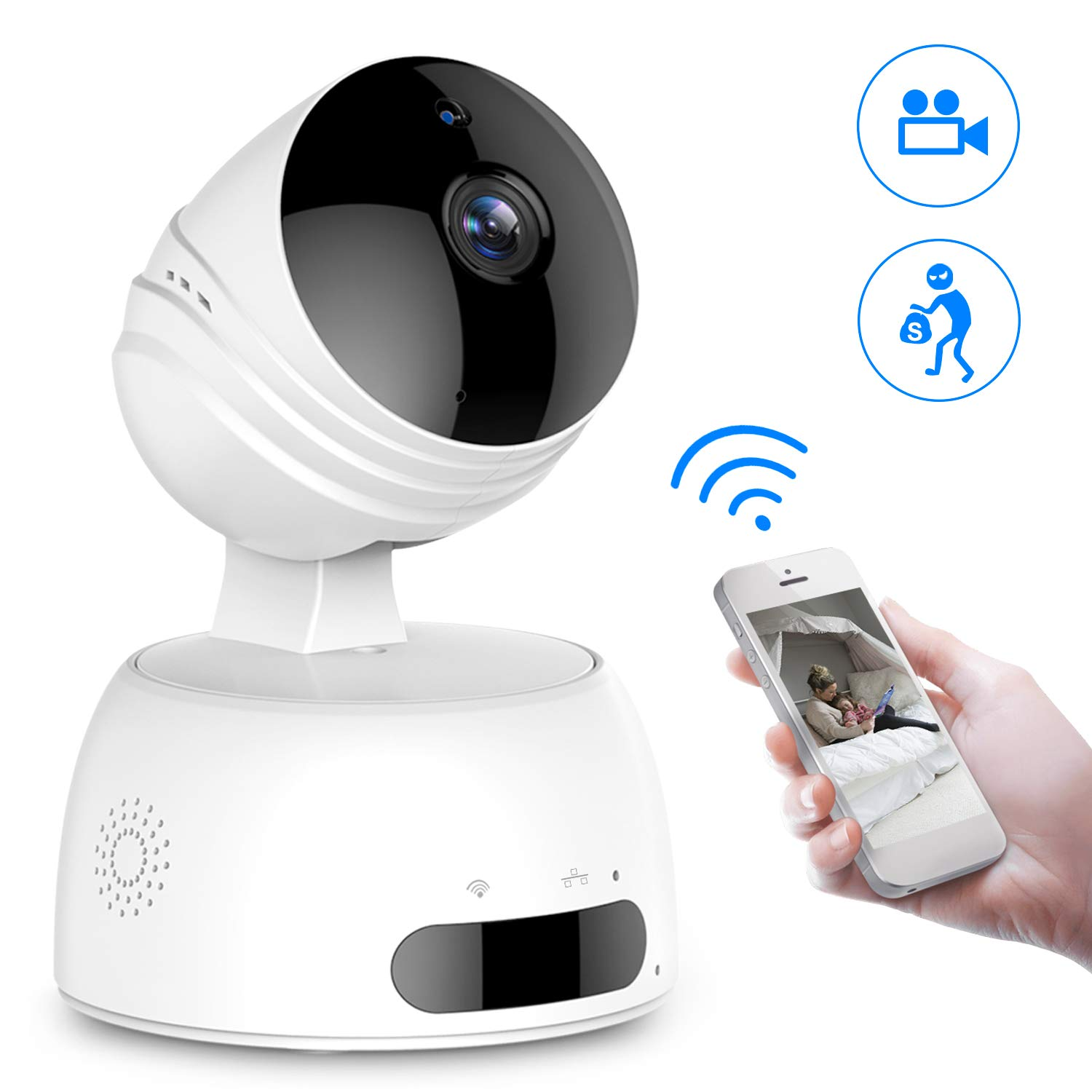 Caméra Surveillance WiFi, ROXTAK Caméra IP sans Fil, Caméra de Sécurité avec Cloud, Vision Nocturne, Détection de Mouvement, Audio Bidirectionnel, Pan / Tilt / Zoom pour Bébé /Aîné /Animal, 720P product image