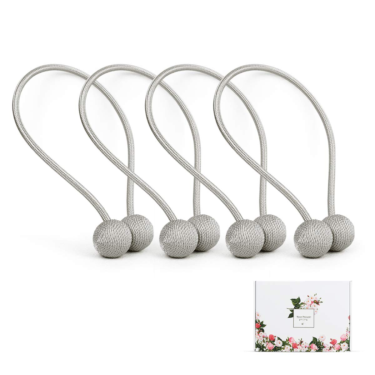 Magnetic Curtain Tiebacks,The Most Easy Strong Magnet Curtain Holdbacks,Simple Modern Decorative Curtain Tie Backs/holder for Home&Outdoor Blackout Curtains,Draperies and Sheer Panels,Grey/4 Pieces
