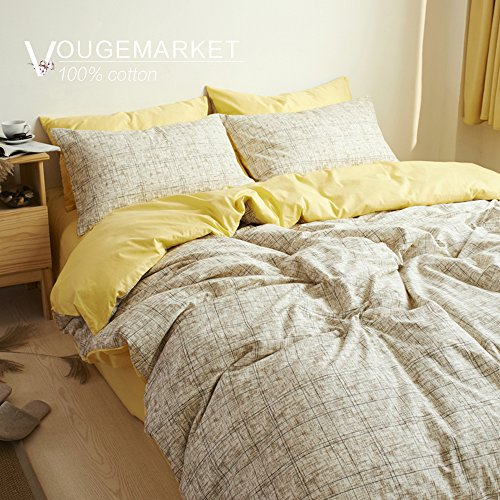 Vougemarket 3 Piece Duvet Cover Set (Queen,King) Duvet Cover with 2 Pillow Shams - Hotel Quality 100% Cotton - Luxurious, Comfortable, Breathable, Soft and Extremely Durable (Queen, Style8)