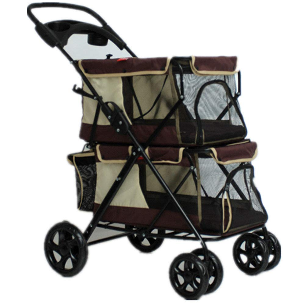 C HAO SHOP Easy Folding Double Pet Trolley Dogs Big Space Carts Four Rounds Of Outdoor Travel Supplies (79  52  105CM) (color   C)