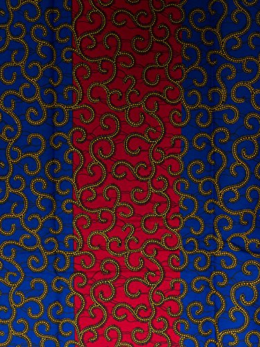 African George Material Super Deluxe Wax Red Blue Yellow Line Designs 6 Yards sw1714056