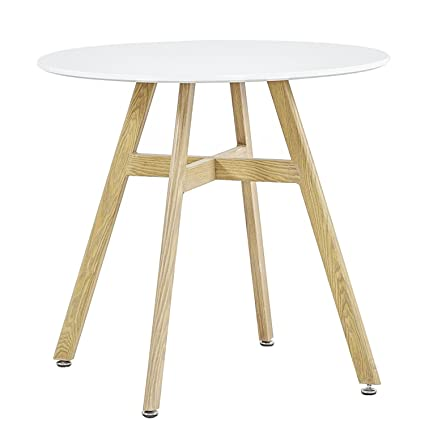 GreenForest Round Dining Table With 32u0026quot; White Wooden Table Top And  Sturdy Wooden Paint Metal