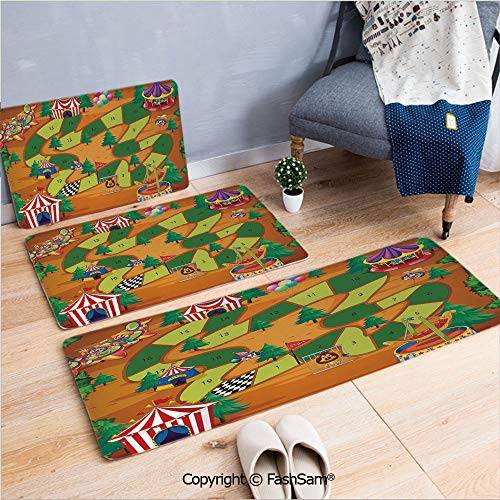 - FashSam 3 Piece Flannel Doormat Circus Themed Design Jokers Tents Balloons Trees Playful Joyous Cartoon Field for Kitchen Rugs Carpet(W15.7xL23.6 by W19.6xL31.5 by W35.4xL62.9)
