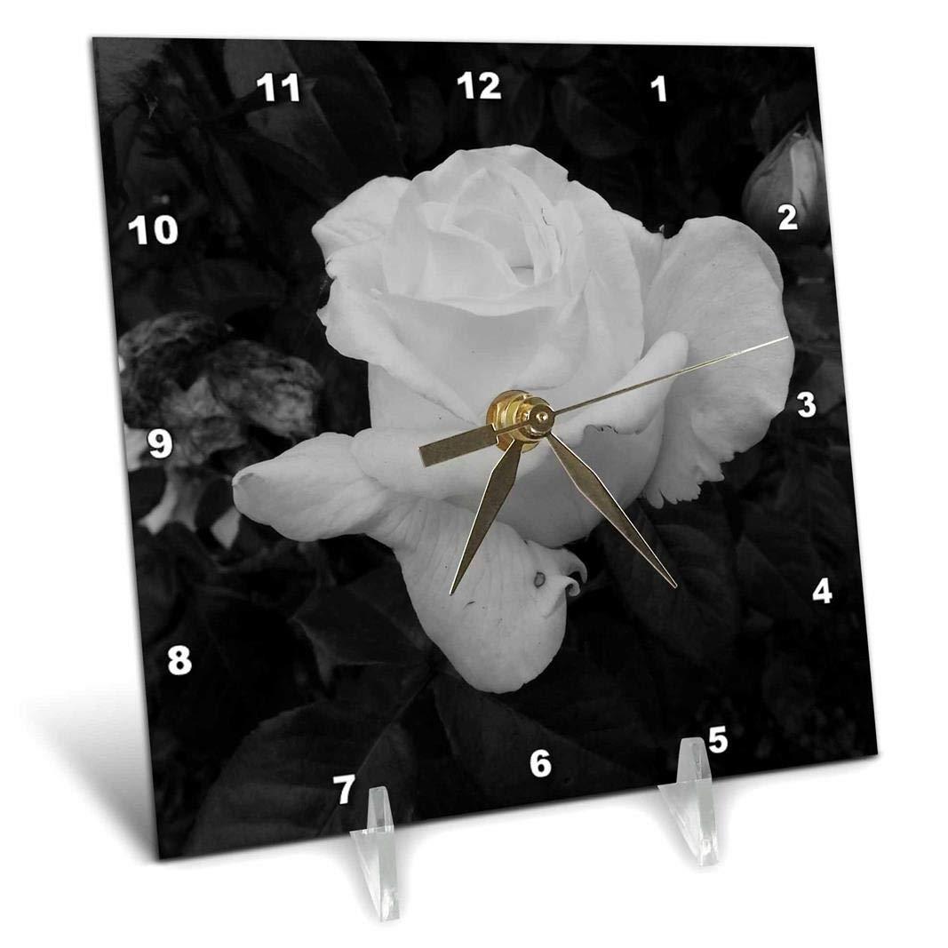 3dRose dc/_192489/_1 Vintage Rose of Love Desk Clock 6 by 6