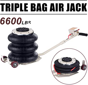 Red Mophorn Triple Bag Air jack 3 Ton Pneumatic Car Jack 6600lbs Heavy Duty Air Jack Lifting Up To 16 Inch Height