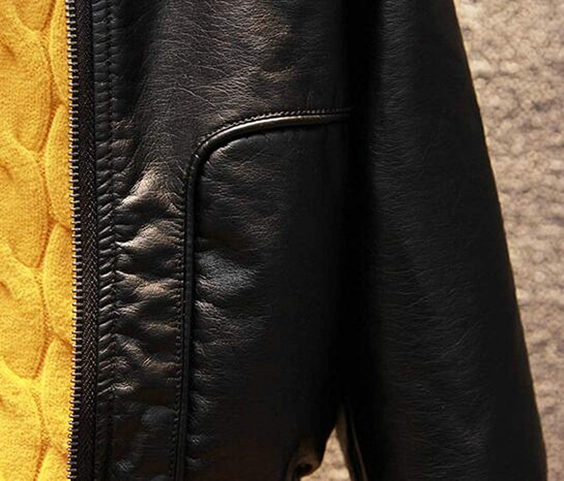 Cromoncent Big Boys Faux Leather Coat Zip Windbreaker Baseball Jacket