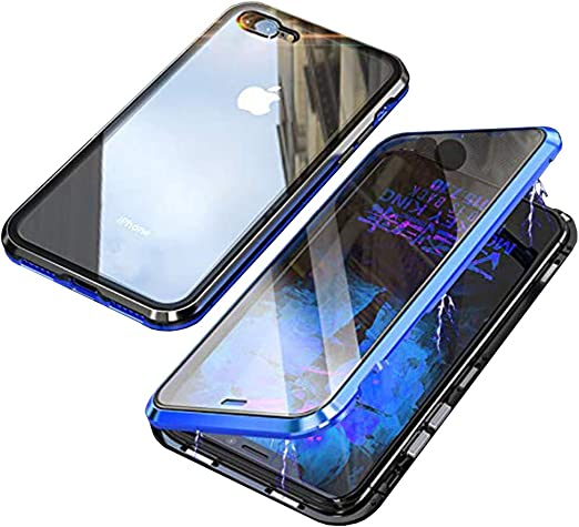 iPhone 7 Plus Case,iPhone 8 Plus Case,360° Full Body,Front and Back of Clear Touchable HD Tempered Glass,with Screen Protector Magnetic Adsorption ...