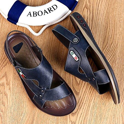 Playa HUAN Hombre Sandalias Libre de de Marrón Cuero Suave Aire Azul Blue Verano Al Para Transpirables Zapatillas rwrA8qgX