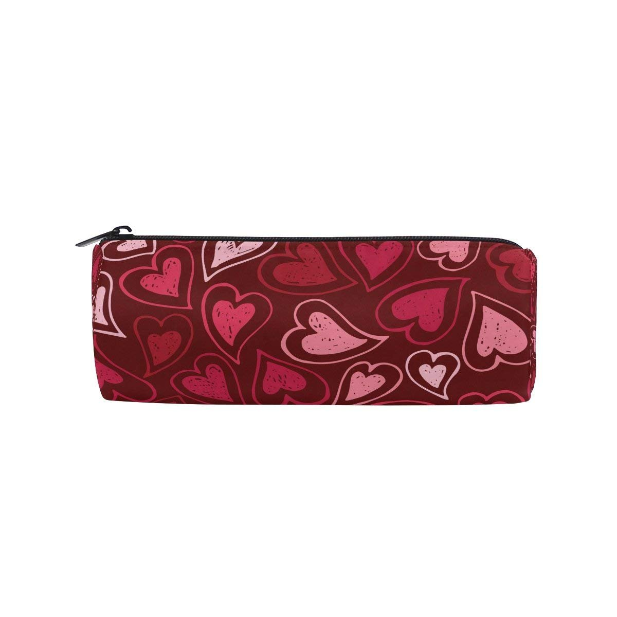 Pink And Red Love Heart Round Pencil Case Stationery Bag Zipper Pouch Pencil Holder