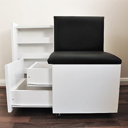 Pelo muebles taburete de manicura y pedicura/carrito de ruedas con uñas cajón