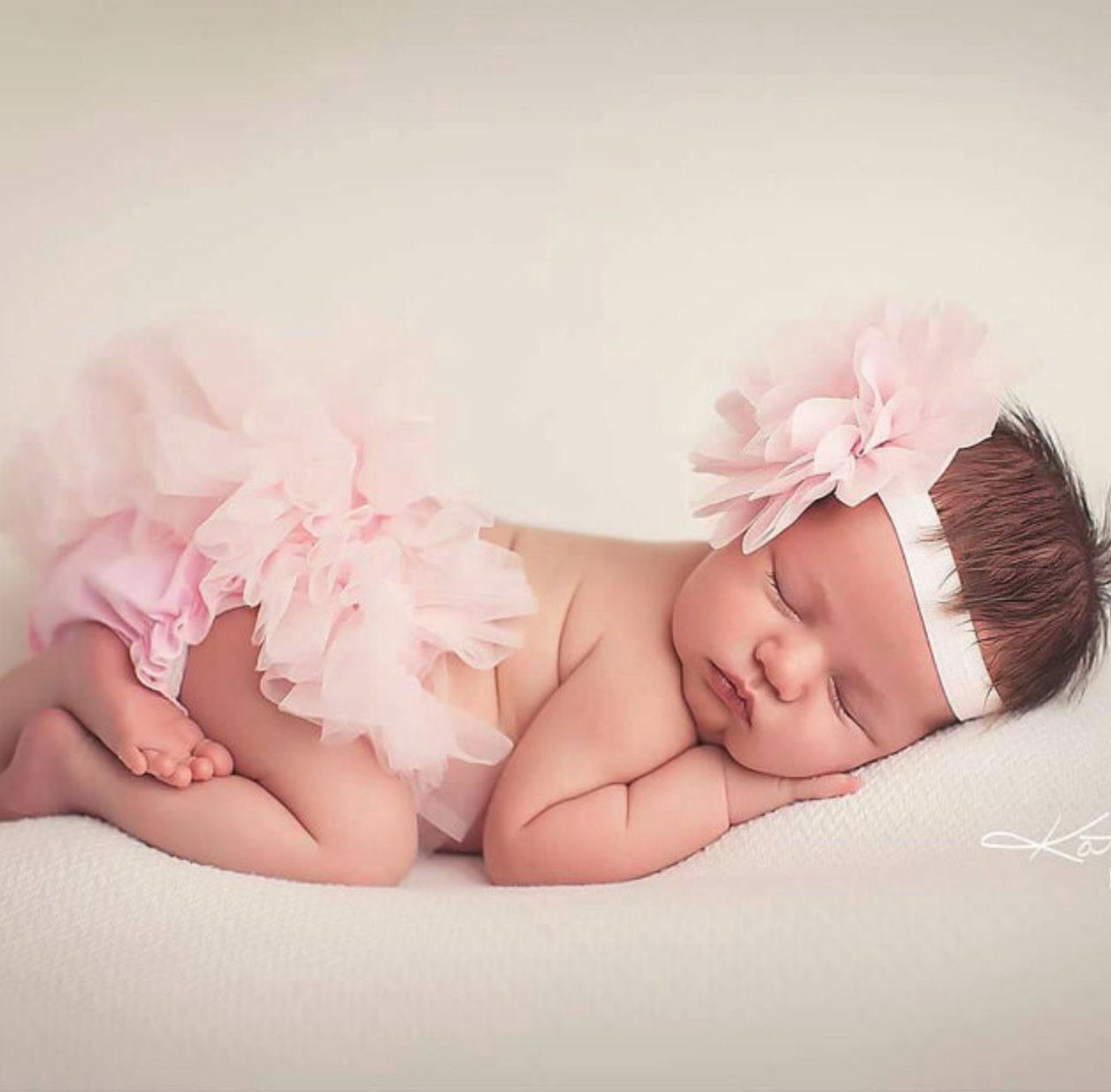 Ruffle Tutu Bloomer & Lace Flower Infant Headband Set, Newborn Baby Girl, Ballet Pink by Couture Flower