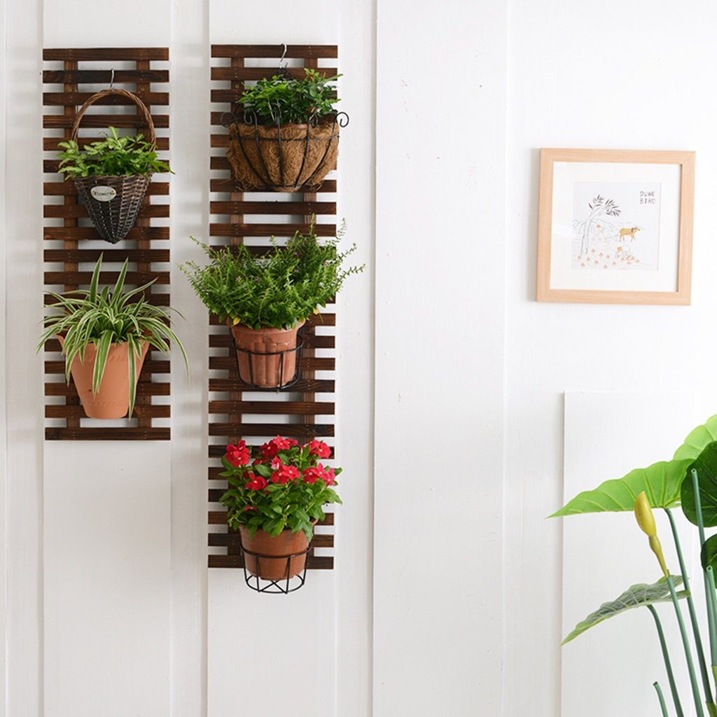 &Estanterías de la planta Estante de pared de flores, estantes colgantes de la pared del balcón Estantes de suspensión de estante de 4 macetas de pared Macetas decorativas ( Tamaño : 60*29CM ) LYM