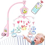Baby Mobile for Crib with Music, Crib Mobile with Lights and Musical, Remote and Toys for Pack and Play,Stroller Accessories.