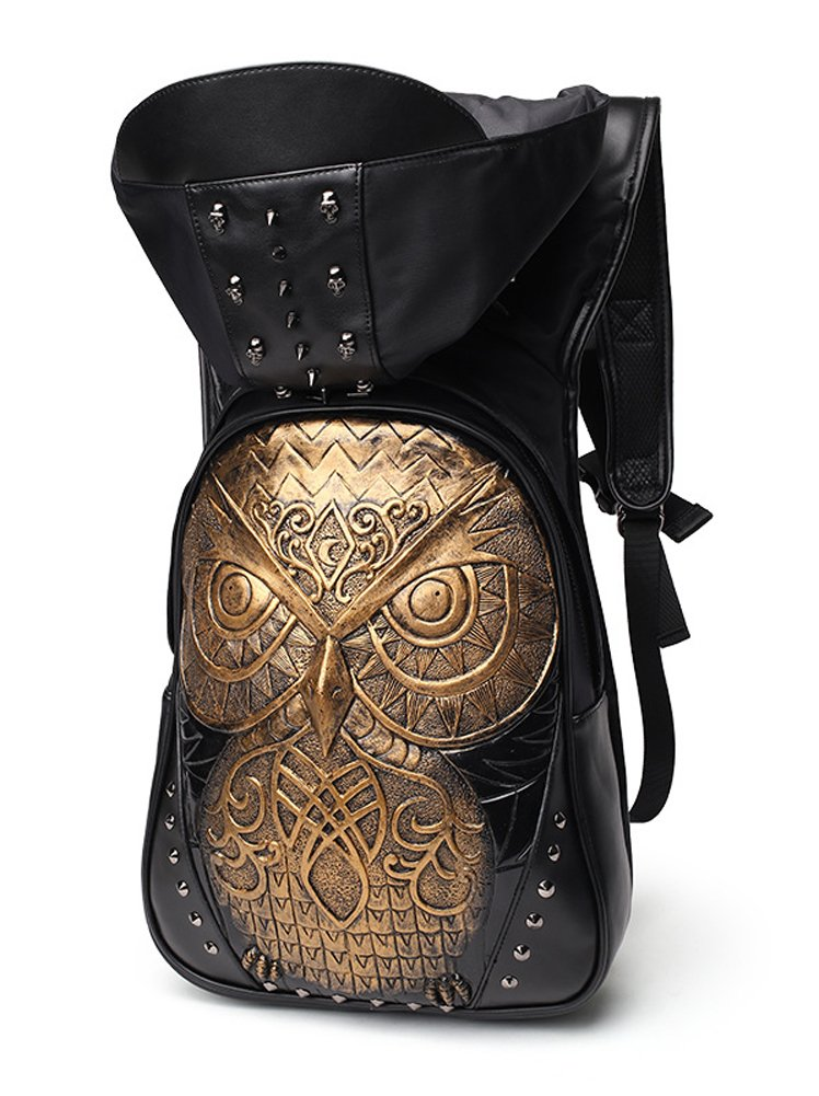 AIBAG Cool Graphic Embossed 3D Owl Leather Hood Backpack