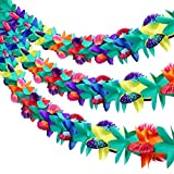 Xinzistar 3 Pieces 9 Feet Long Tropical Multicolored Paper Tissue Flower Garland Flower Banner for Luau Hawaiian Party Decorations