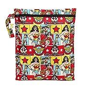 Bumkins Reusable Waterproof Wet Bag with Zipper, DC Comics, Wonder Woman