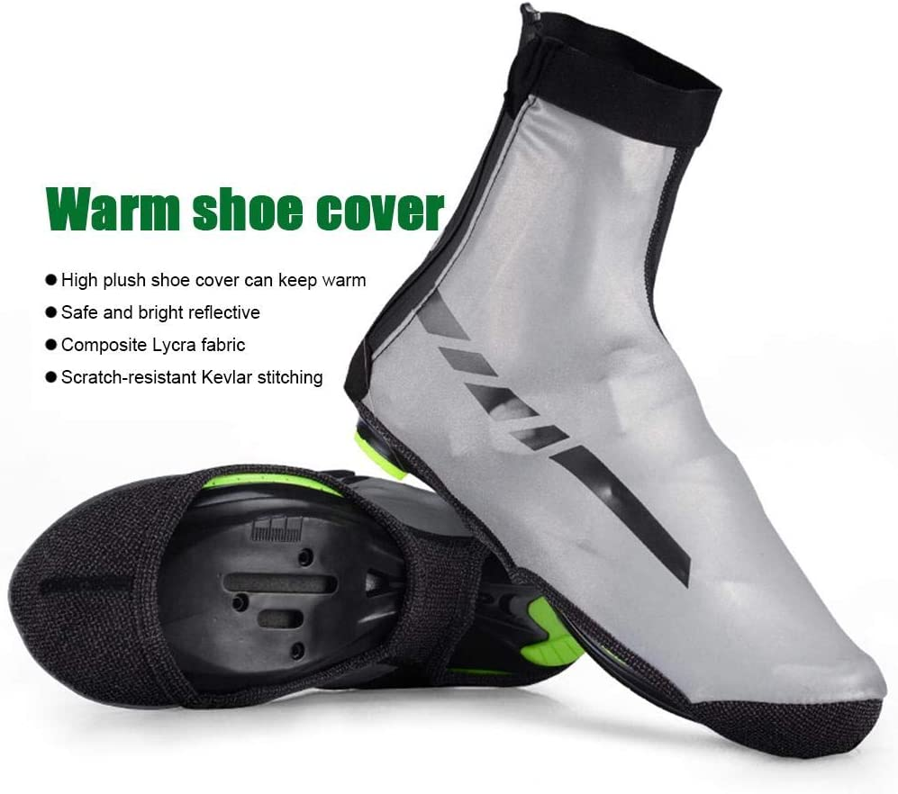 Bike Bicycle Shoe Covers Cycling Overshoes Reflective Warm Cycling Shoe Covers for Men Women Cycling Motorcycle Fishing Winter Bike Shoes Cover Windproof and Waterproof Overshoes