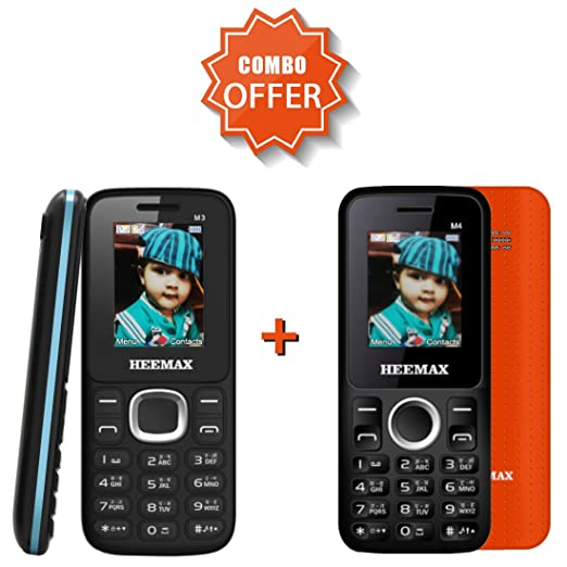 Combo Offer Heemax M3  Blue  +Heemax M4  Orange  Dual Sim Phones Basic Mobiles