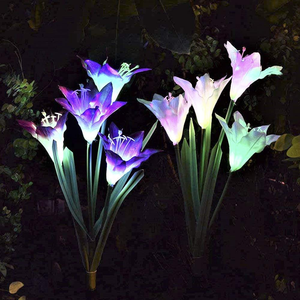 ixaer Solar Garden Lights Outdoor 2 Pack Solar Powered Lights 8 Lily Flower Multi-Color Changing LED Solar Landscape Lighting Light (White and Purple)