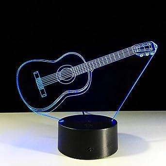 ZQQ 3D Lámpara de escritorio Guitarra LED Acrílico Increíble 7 Color Cambio Luz de la noche