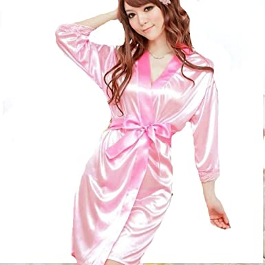1c9785a3b3 Image Unavailable. Image not available for. Colour  Pa-Ula Satin Lace  Dressing Gown Bath Robe Hot Fashion Nightwear Pink